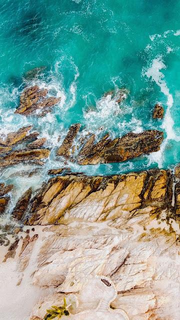 Wallpaper HD Sea, Waves, Rocks, Water, Aerial view