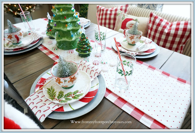 Cottage -Farmhouse -Christmas -Breakfast -Nook-Table-Setting-Holiday-Whimsical-Vintage-Style-Polka-Dot-Table Runner-Red-Buffalo Check--From My Front Porch To Yours