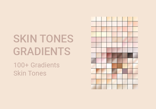 100 plus + skin tones gradients GRD file for adobe photoshop and illustrator