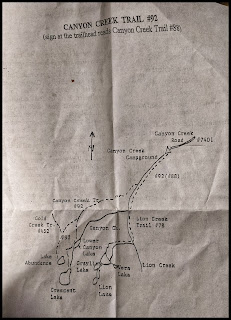 Map for Canyon Creek Trail #92 to Mountain Lakes