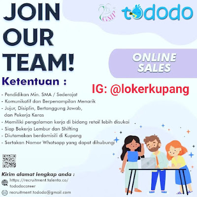 Lowongan Kerja Tododo Sebagai Online Sales