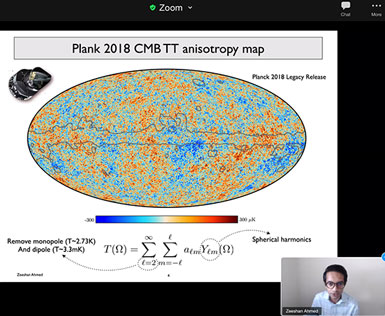 Power spectrum of CMB  shows structure variations (Source: Zeeshan Ahmed, SLAC SSI 2020)