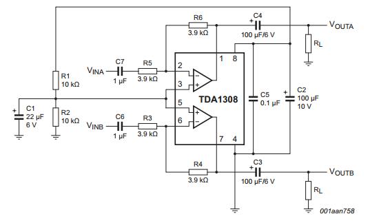 TDA1308 ClassAB stereo headphone driver