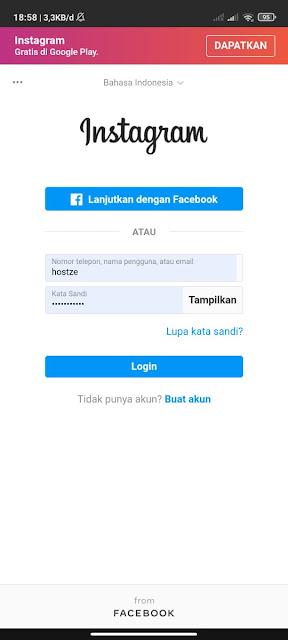 Masukan username dan password akun instagram kalian - hostze.net