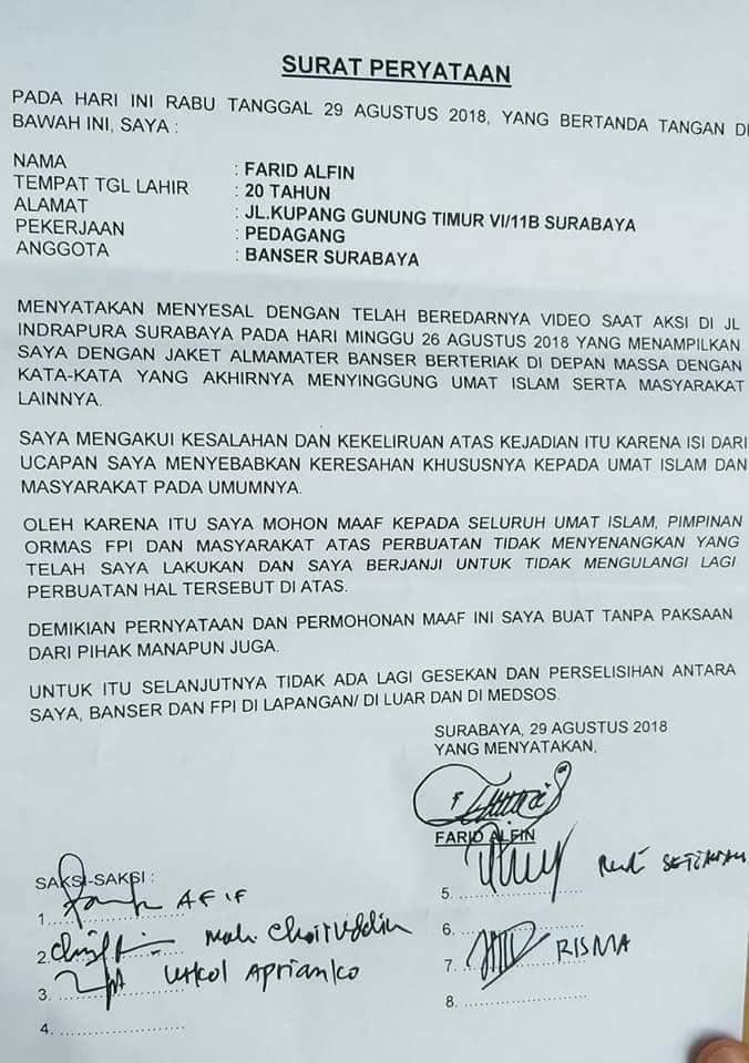 Surat pernyataan Farid Banser