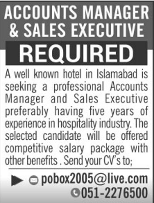 Accounts Manager And Sales Executive Required In Islamabad Aug 2017