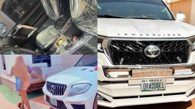 "Destiny Etiko Shows Off The Three Multi-million Naira Cars in Her Compound, Calls Her Cars ""My babies"" (Video)"