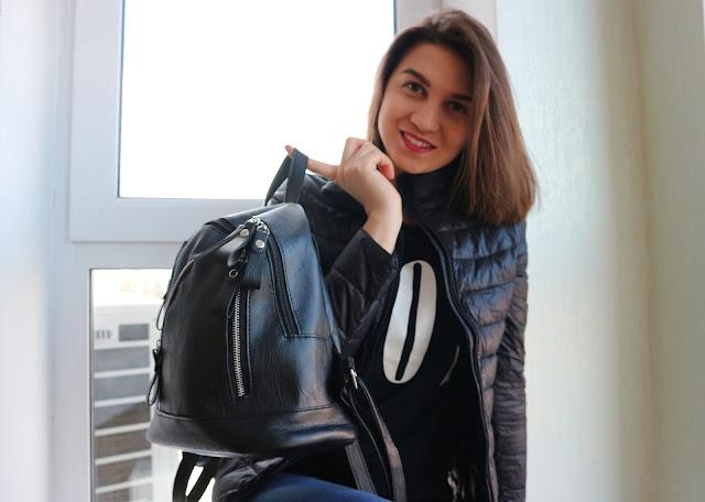 Faux Leather Zipper Backpack Zaful