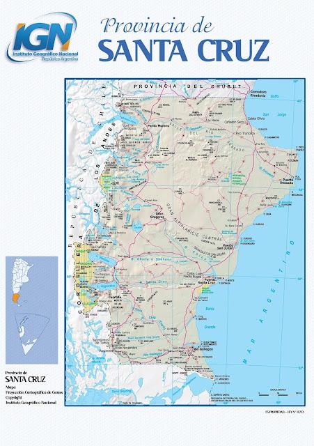 Mapa da província de Santa Cruz - Argentina
