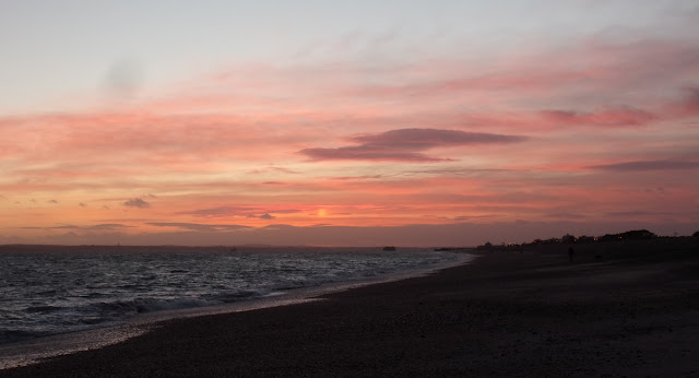 sunset over the solent from eastney beach