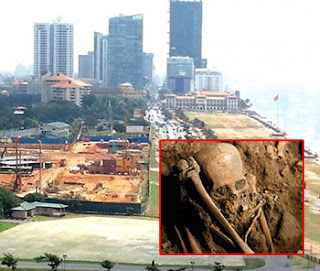Galle Face Shangrila Hotel yard ... a cemetery of foreigners years ago; skeletons uncovered provide testimony