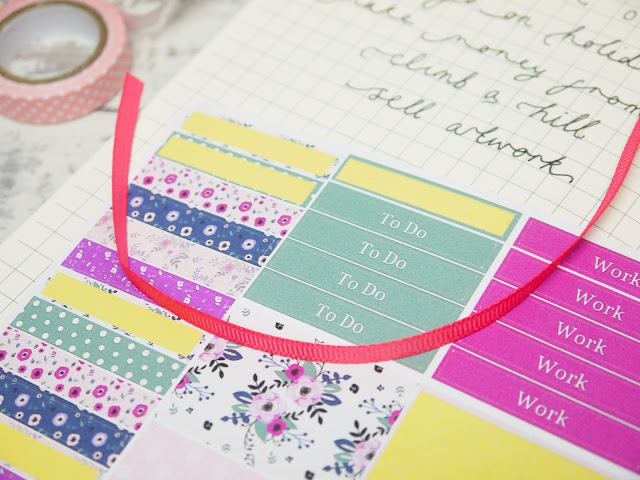 colourful floral stickers with text such as 'to do' and 'work'