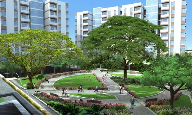 Vườn dạo bộ Louis City với dưới những tán cây cổ thụ xanh mát