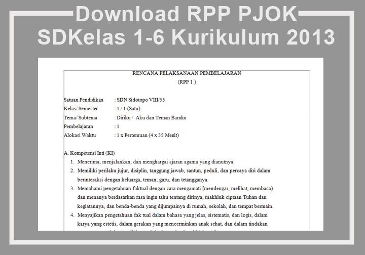 Download Rpp Pjok Sd Kelas 1 6 Kurikulum 2013 Rpp K13