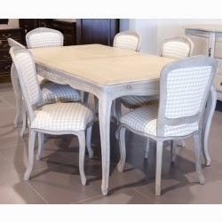 Tραπέζι αντικέ από μαόνι σε λευκή πατίνα