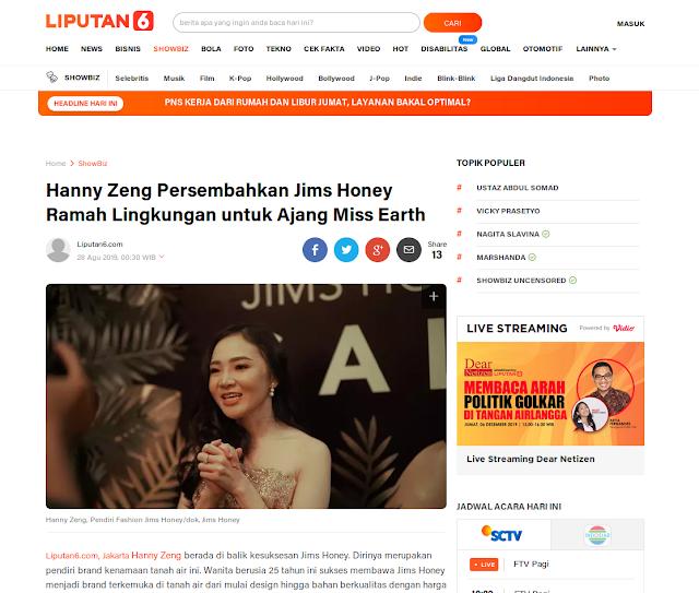 Hanny Zeng Persembahkan Jims Honey Ramah Lingkungan untuk Ajang Miss Earth