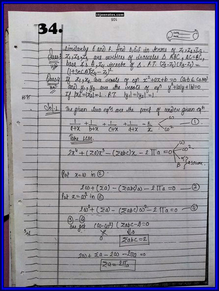 IITJEE Competition Notes On Complex Number 34