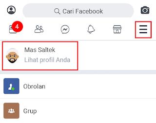membuka profil facebook