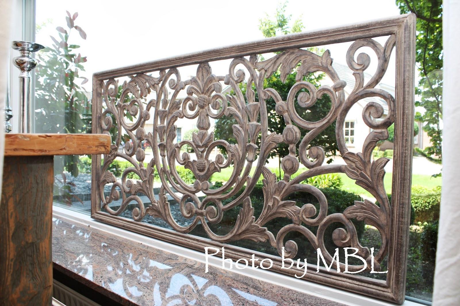 Met brocant label landelijk houten wand raampaneel for Houten decoratie voor raam