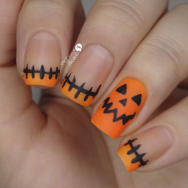 Unhas de Halloween Abóbora
