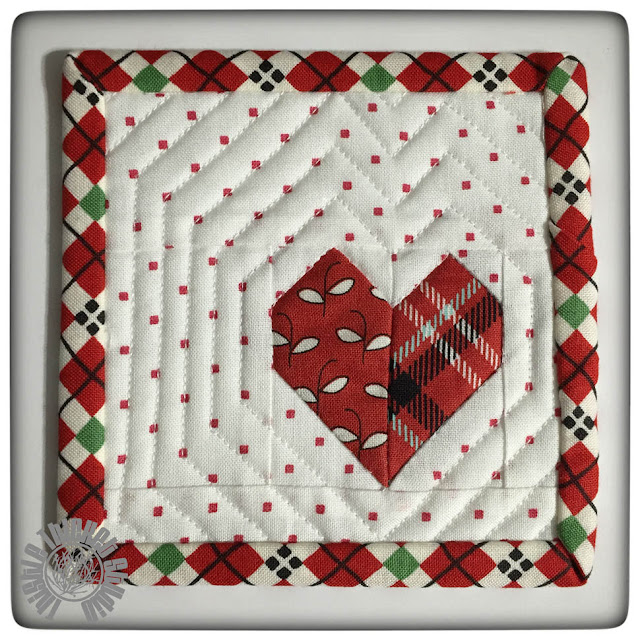 "Mini Mini Heart Quilt by Thistle Thicket Studio. 4"" mini quilt. www.thistlethicketstudio.com"