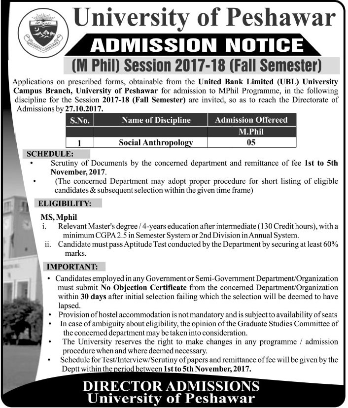 Admissions Open in University of Peshawar