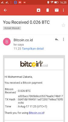 Bukti penarikan dari App.coins.id ke Akun Bitcoin.co.id