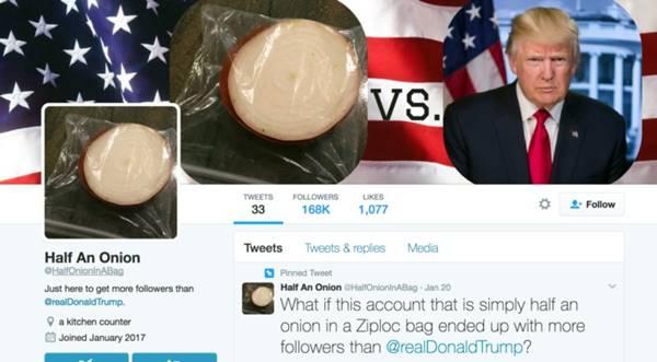 O mais novo rival de Donald Trump no Twitter é uma cebola em um saco