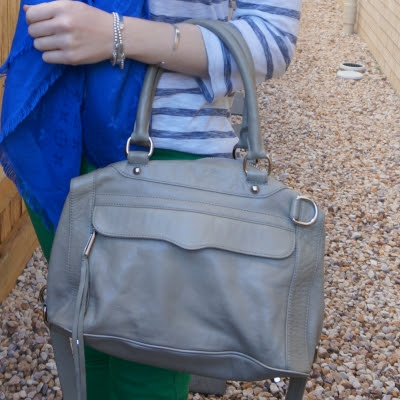 blue and green outfit with Rebecca Minkoff MAB mini in soft grey | awayfromtheblue