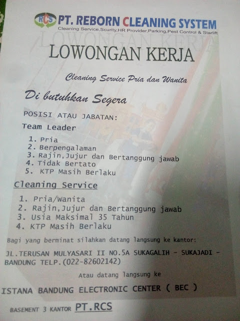 Lowongan PT. Reborn Cleaning System