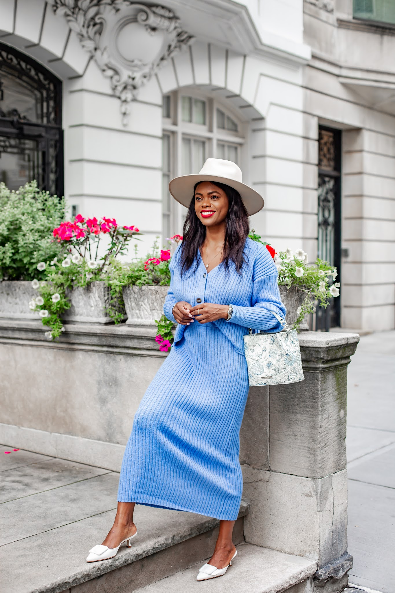Niza Knit Skirt Set sky blue