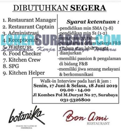 Walk In Interview Di Bon Ami Restaurant Surabaya Terbaru Juni 2019 Lowongan Kerja Surabaya Januari 2021 Lowongan Kerja Jawa Timur Terbaru