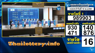 Thailand Lottery Results Today 16 November 2018 Live Online