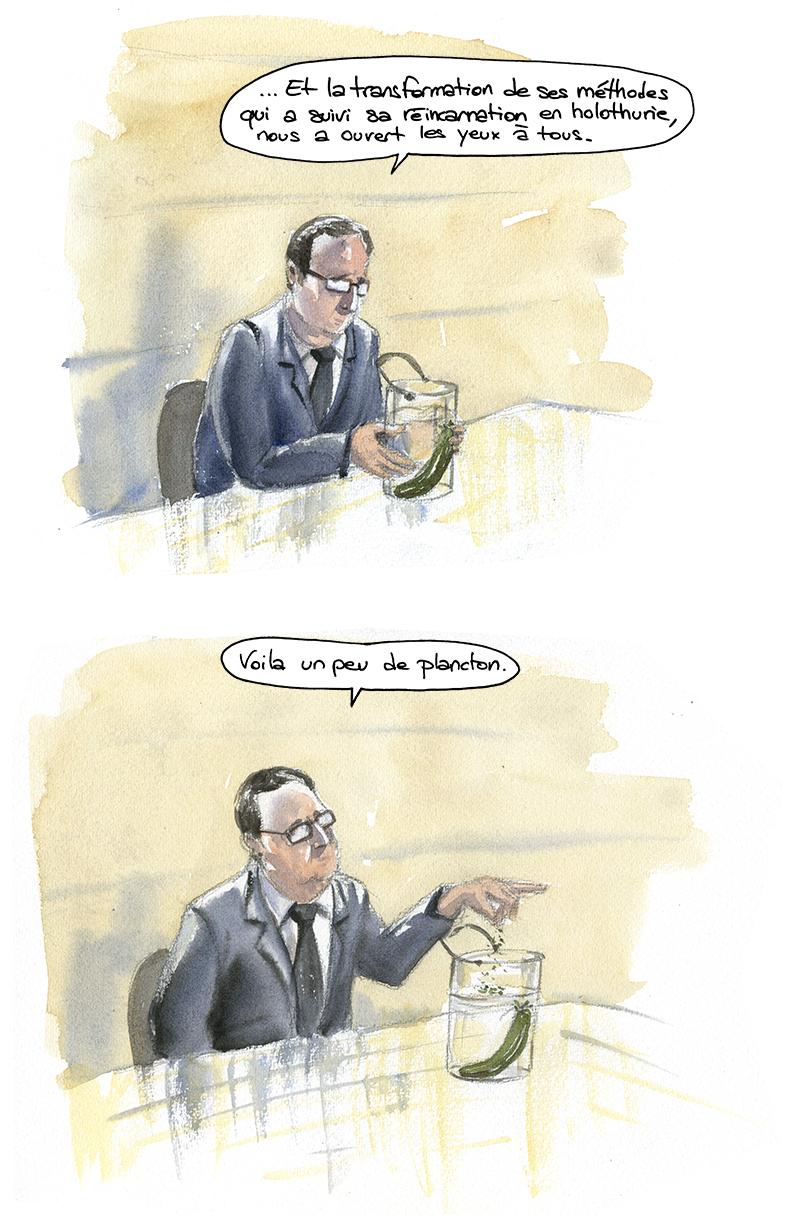 réincarnation de Manuel Valls en holothurie