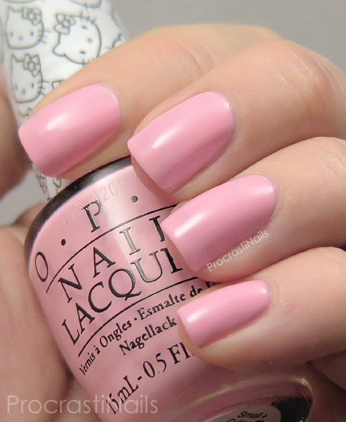 Swatch of the cotton candy pink nail polish OPI Small + Cute = Heart