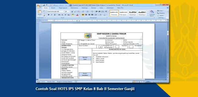 Contoh Soal HOTS IPS SMP Kelas 8 Bab II Semester Ganjil