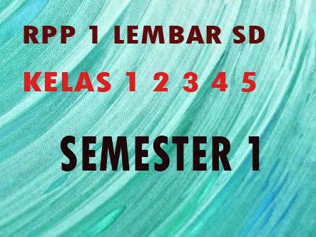 Download RPP 1 Lembar SD Kelas 1 2 3 4 5 6 Semester 1