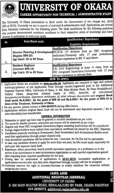 Latest Jobs in University of Okara 2019