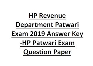 HP Revenue Department Patwari Exam 2019 Answer Key -HP Patwari Exam Question Paper