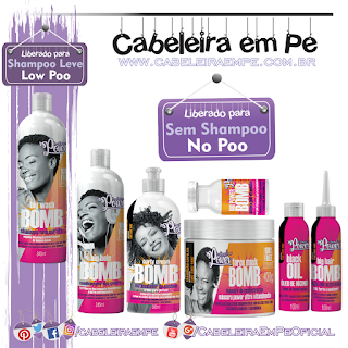 Linha Bomb - Soul Power (Shampoo Low Poo) - (Condicionador, Creme para pentear, Máscara, tônico, óleo e ampola liberados para No Poo)
