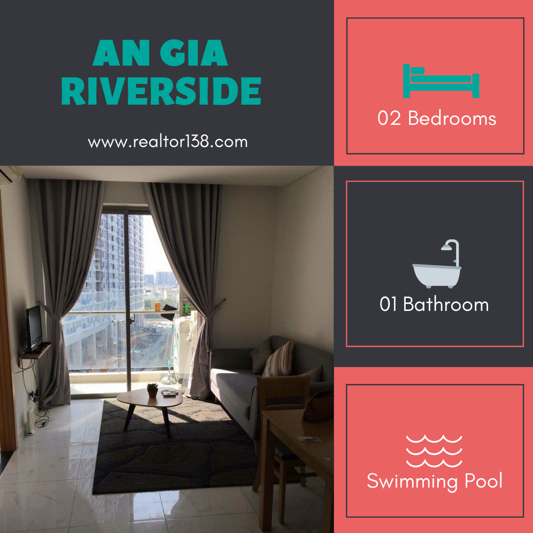 Cho thuê căn hộ An Gia Riverside 2 phòng ngủ đầy đủ nội thất
