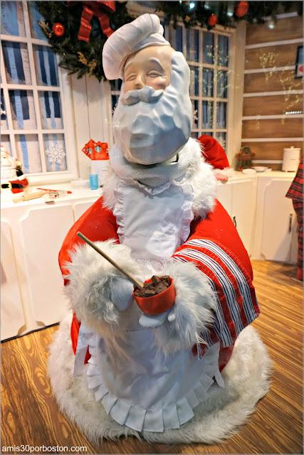 Santa Cocinando en los Escaparates de Navidad del Macy's de Boston