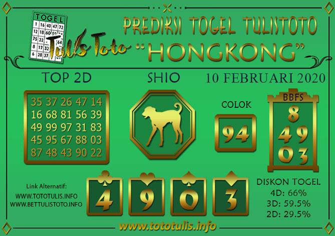 Prediksi Tulistoto Hongkong Senin 10 Februari 2020