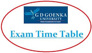 GD Goenka University Exam Date Sheet 2020