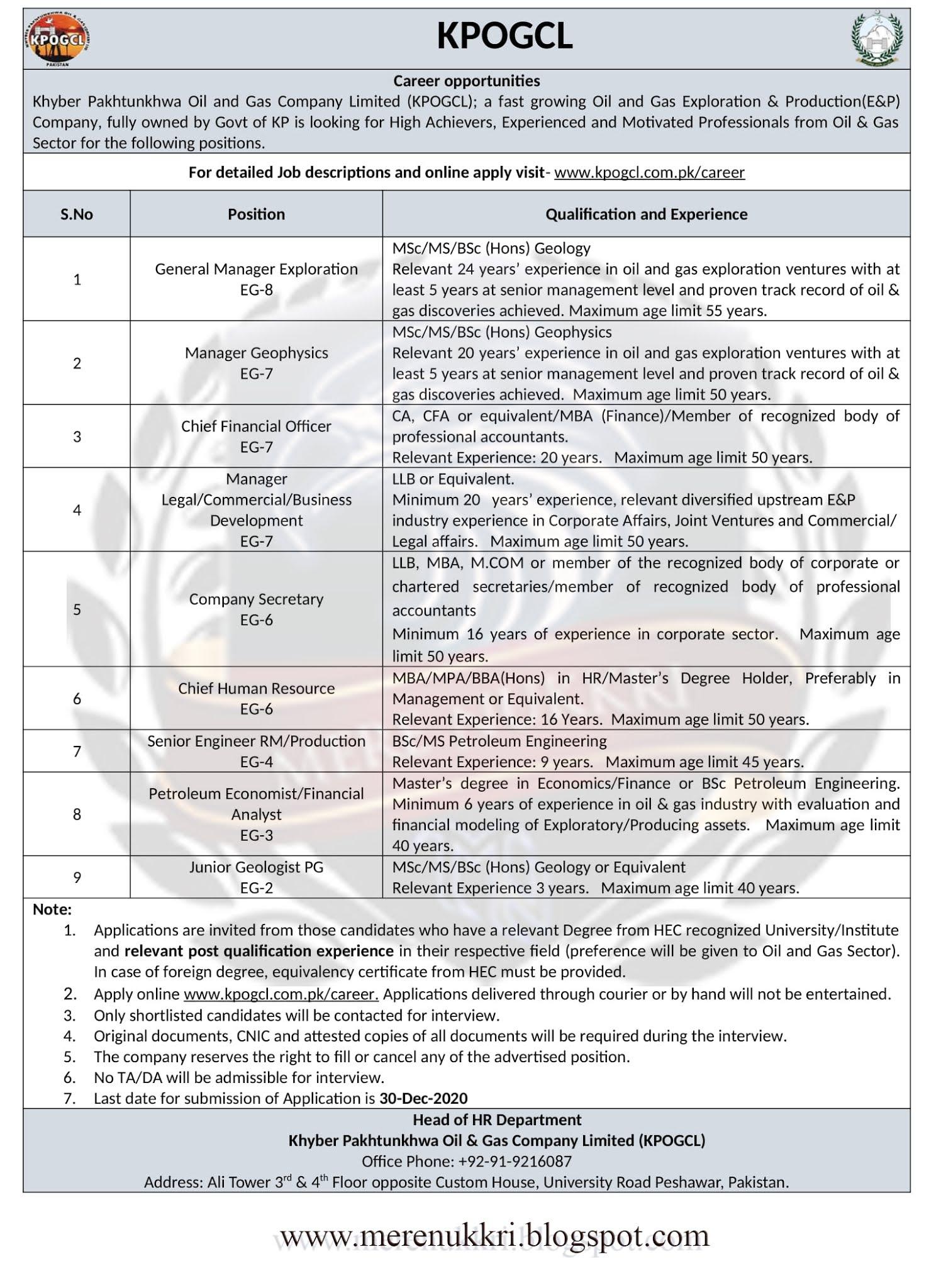 KPOGCL Jobs 2020   KPK Oil and Gas Company Ltd – Apply Now merenukkri24.gq