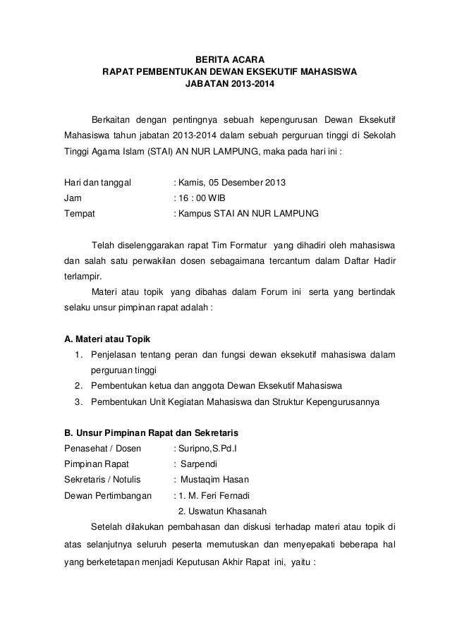 Contoh Surat Berita Acara 2019 Kumpulan Contoh Surat Dan Proposal