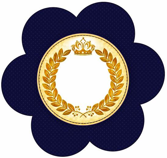 Toppers o Etiquetas de Corona Dorada en Fondo Azul para Imprimir Gratis.