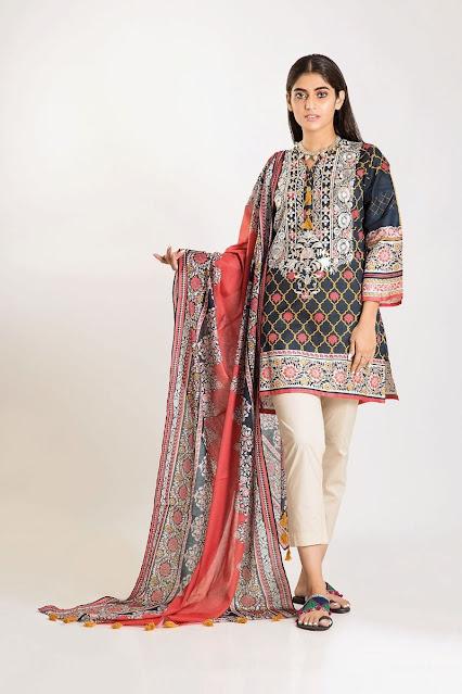 khaadi winter cambric Black colour 3 pieces suit
