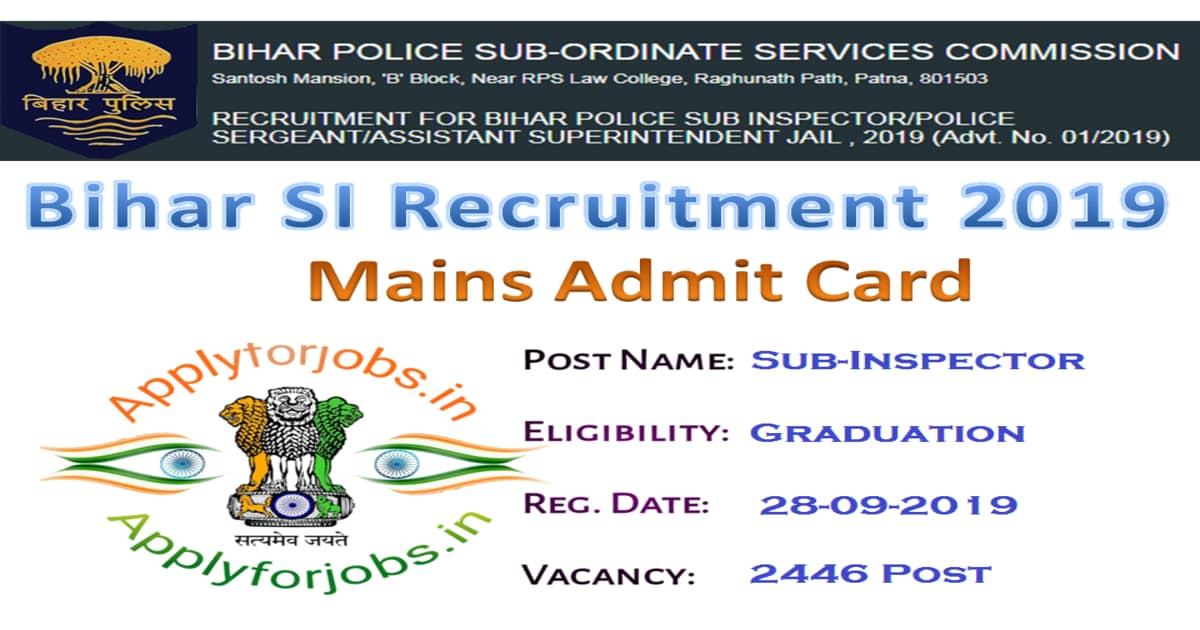 BPSSC Bihar SI Admit card 2020