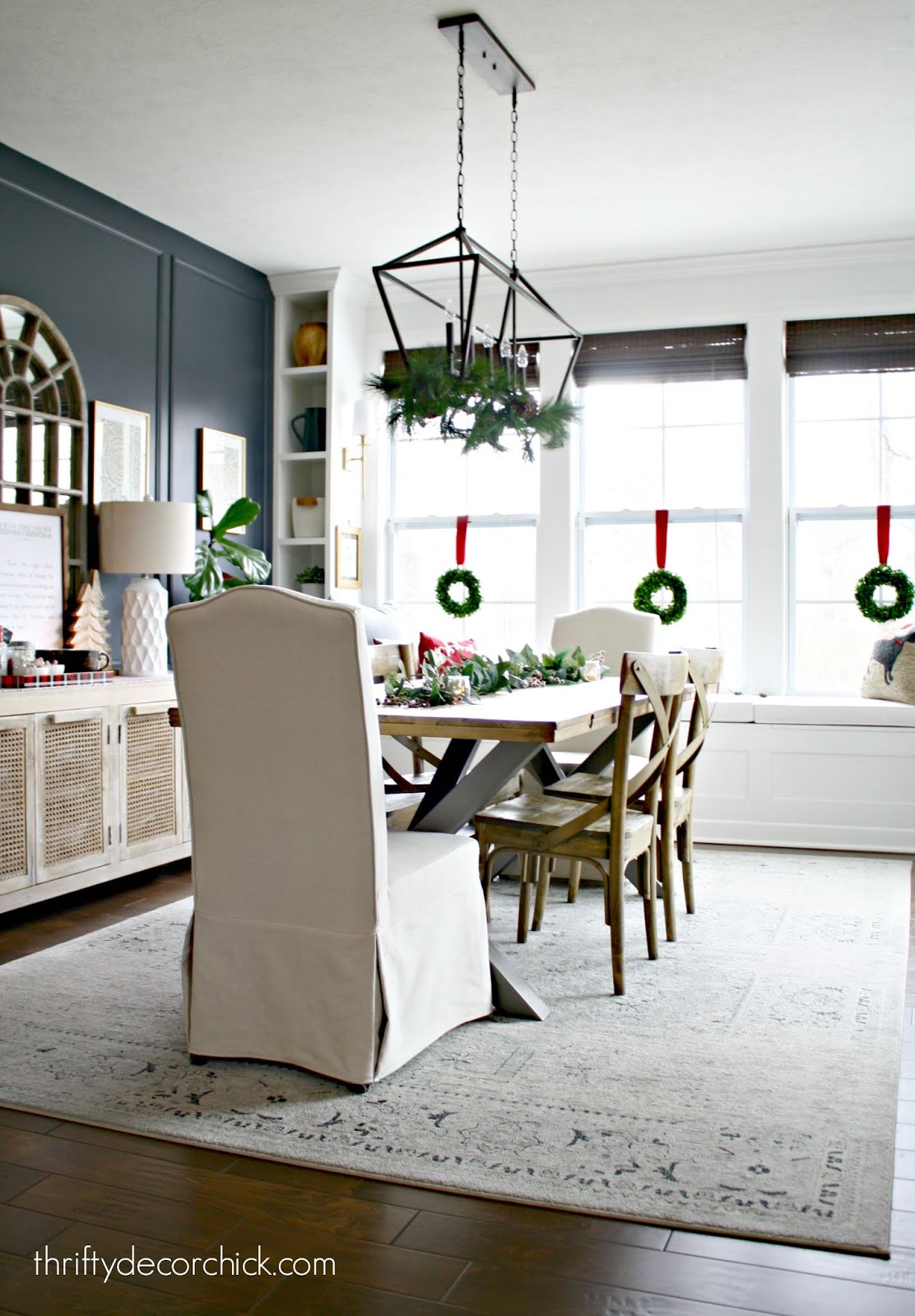 Open morning/dining room decor with window seat